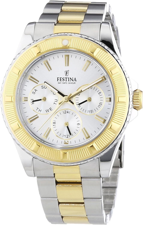 FESTINA F16691/1 - Reloj analógico de Cuarzo Unisex, Correa de Acero Inoxidable Color Dos Tonos (Agujas luminiscentes)