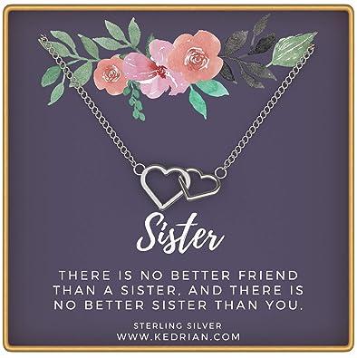 KEDRIAN Sister Necklace 925 Sterling Silver Interlocking Hearts Big Gifts