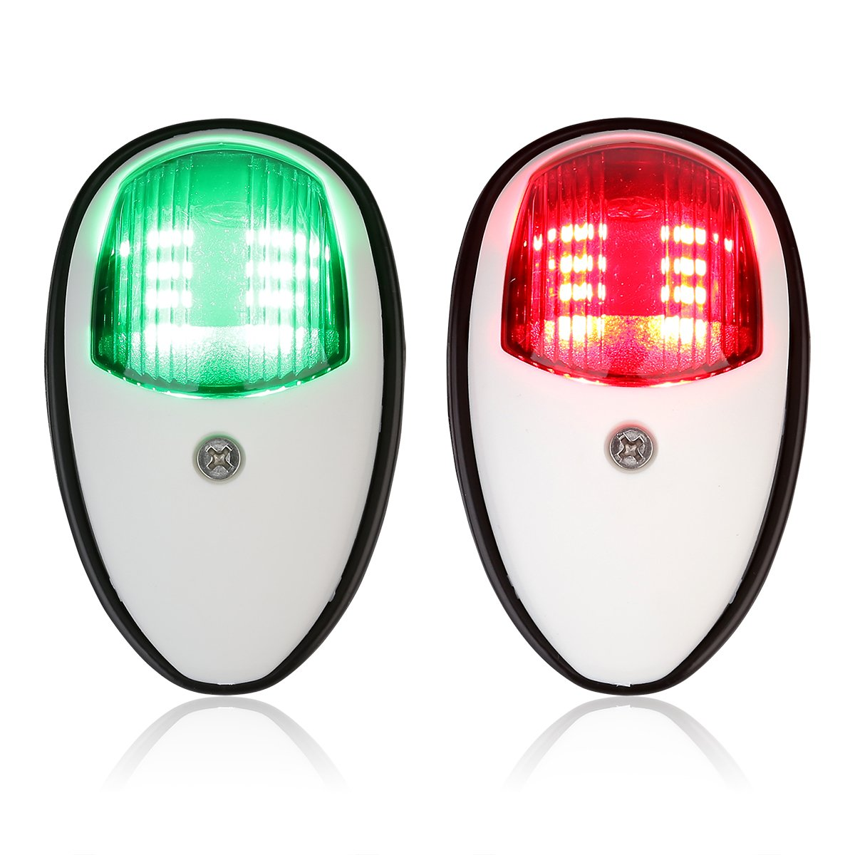 LEANINGTECH One Pair Boat Marine LED Navigation Lights Lamp Red & Green LED for Pontoon,Yacht,Skeeter,Touring Car,etc as Boat Replacement Part (White)