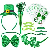 16 Pcs St. Patrick's Day Parade Accessories, Including Hat, Mustaches, Glasses, Horn, Tattoos and Bow Tie