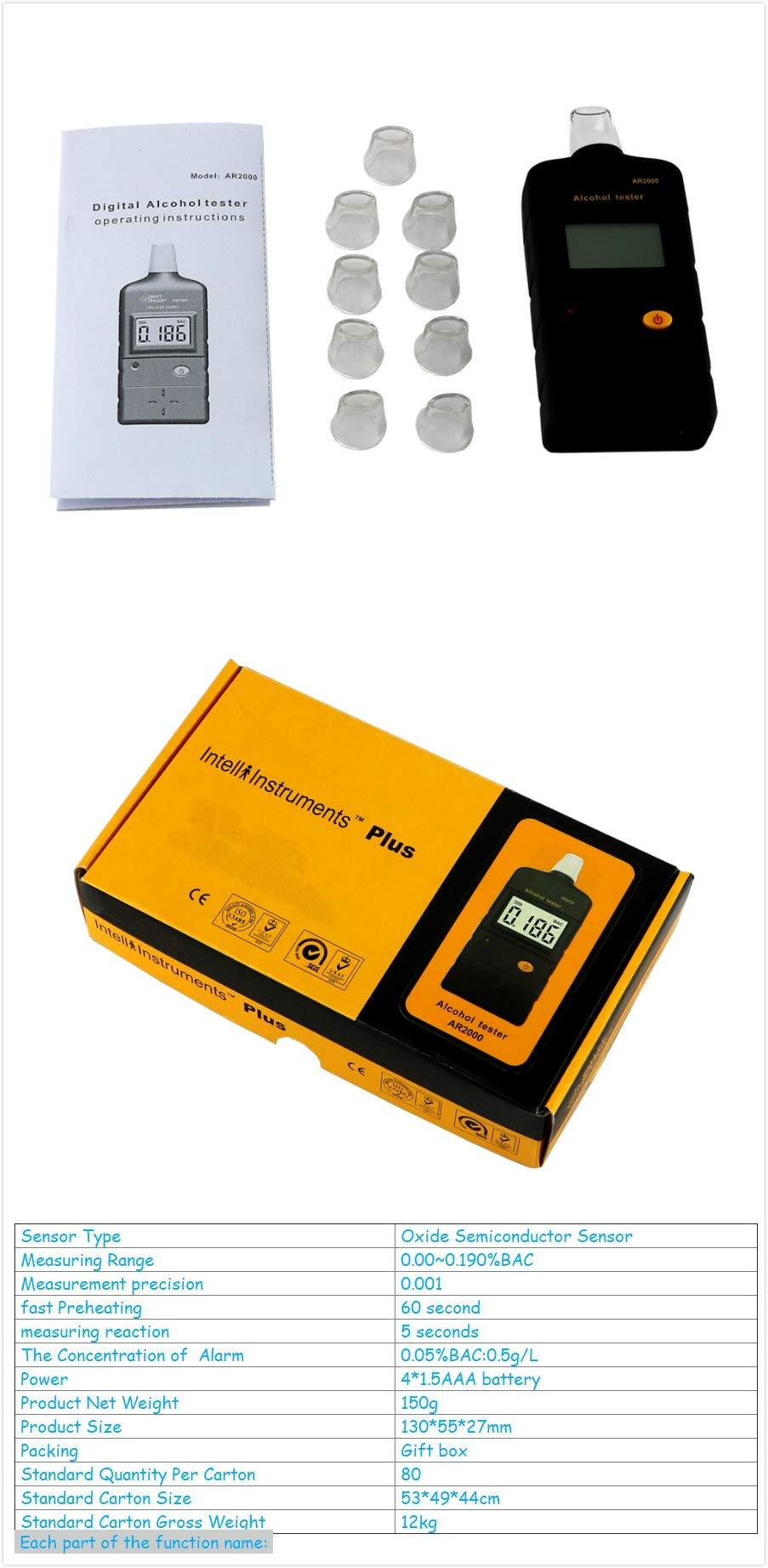 Portable AR2000 Alcohol High Sensitive Tester Instrument Alcohol Concentration Meter Handheld Analyzer