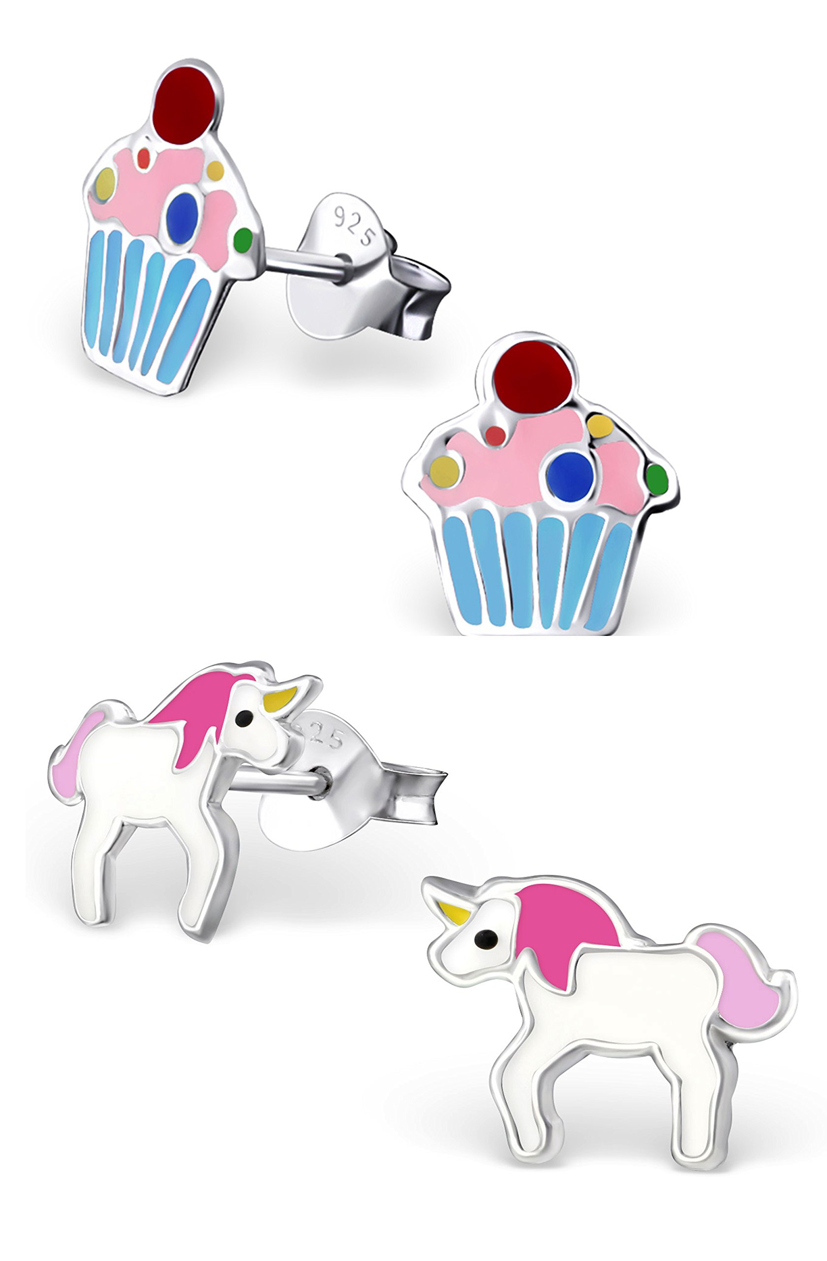 Best Wing Jewelry .925 Sterling Silver''Pink Unicorn and Sprinkles Cupcake'' Set Stud Earrings (2 Pairs) by Best Wing Children's Earrings (Image #1)