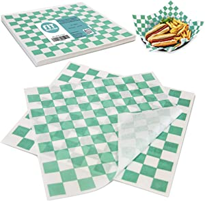 [250 Sheets] 12x12 Inch Deli Paper Sheets Sandwich Wrap - Green and White Checkered Food Basket Liners, Grease Resistant Wrapper for Barbecue Restaurants, Picnics, Parties, Kids Meal, Outdoor Fair