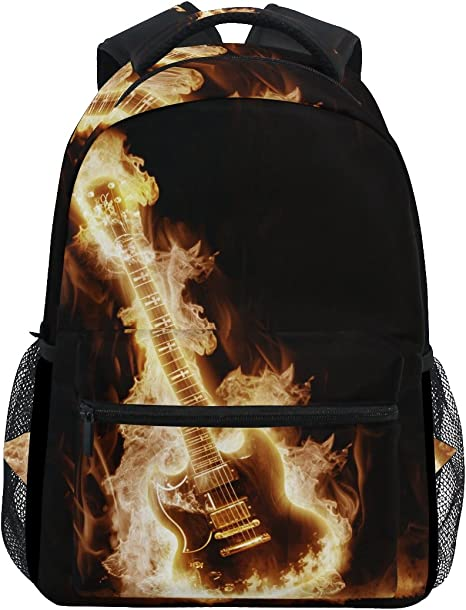 TIZORAX Electronic Guitar Enveloped Flames Backpack School