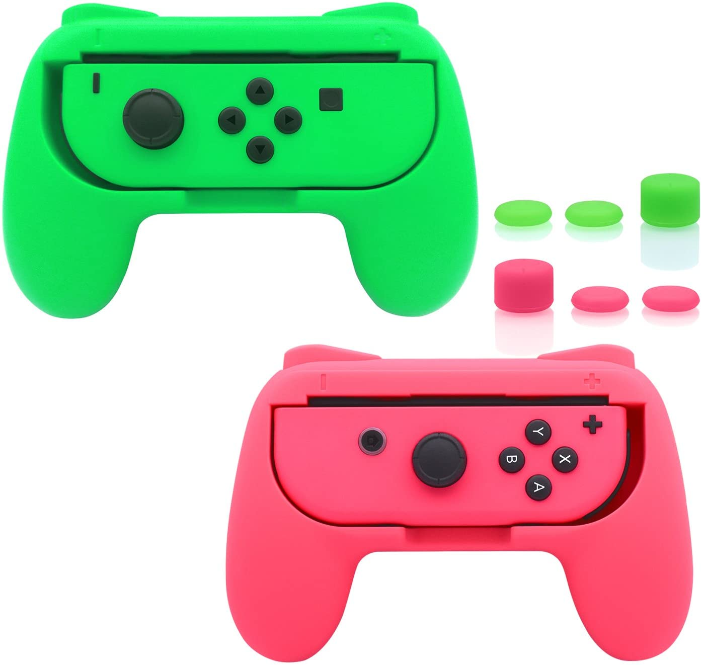 Amazon Com Fastsnail Grips Compatible With Nintendo Switch Joy Con Wear Resistant Handle Kit Compatible With Switch Joy Cons Controllers 2 Pack Green And Pink Computers Accessories