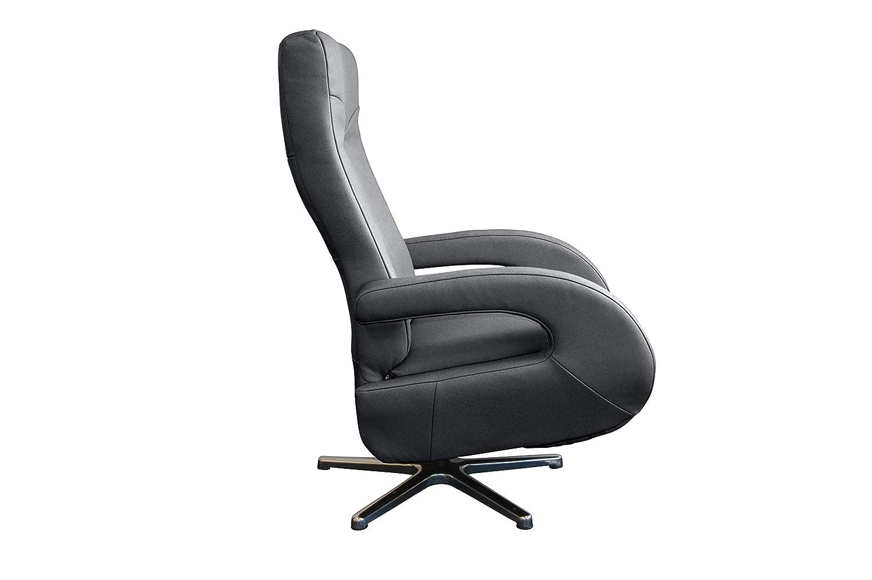 Mein Sessel SL-824 Relax und Ruhesessel in Dickleder grau mit motorischer Verstellung