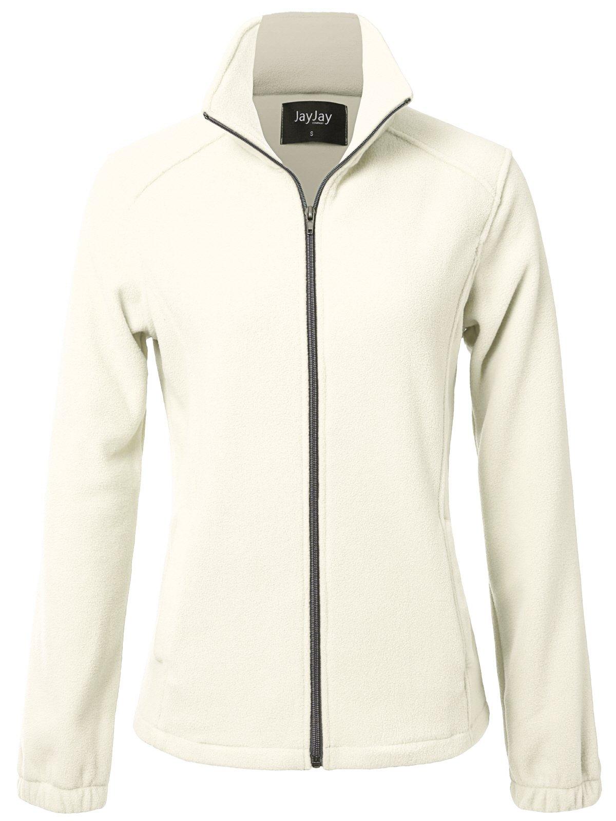 JayJay Women Ultra Soft Breathable Full-Zip Fleece Long Sleeve Jacket,Beige,2XL