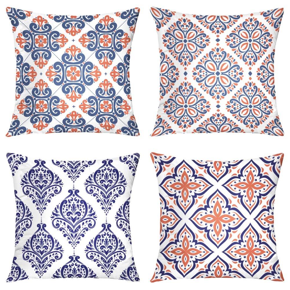 Suesoso Decorative Pillows Case,4 Pillow Set,Blue and Orange Ornamental Vintage Paisley Ornament Arabesque Throw Pillowcovers 20 x 20 inch,Cushion Decorative Home Decor Nice Gift Garden Sofa Bed Car