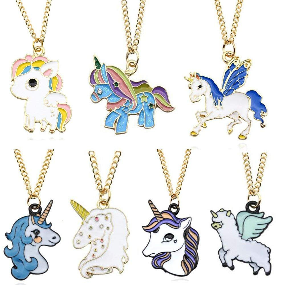 JLZK Set of 7 Rainbow Unicorn Necklaces for Unicorn Themed Party Favors Supplies Christmas Bag Fillers, Animal Horse Pendant Necklace