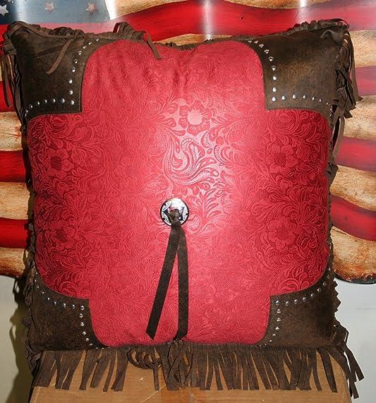 Western Tooled Burgundy Single Tassle Microsuede Pillow