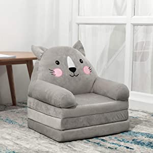 HIGOGOGO Cartoon Foldable Kids Sofa, Plush Cat Shape Children Couch Backrest Armchair Bed with Pocket, Upholstered 2 in 1 Flip Open Couch Seat for Infant Toddler Baby Boys Girls, Grey