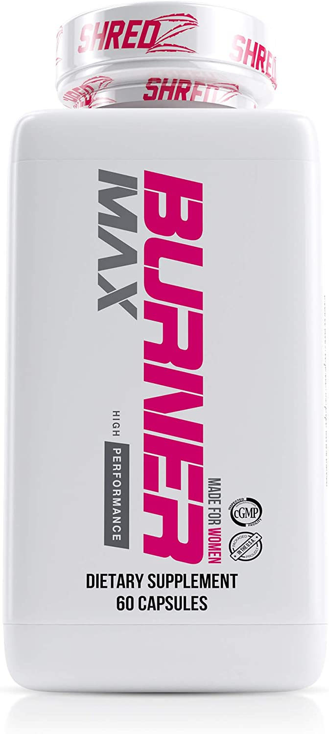 SHREDZ Burner MAX Fat Burner Supplement for Women, Maximum Strength, Burn Fat, Increase Gains, Improve Workout Results, Shed Pounds Fast 1 Month Supply