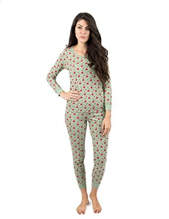 7b3087a471 Leveret Womens Pajamas Aqua Hearts 2 Piece Pajama Set 100% Cotton Size  X-Small