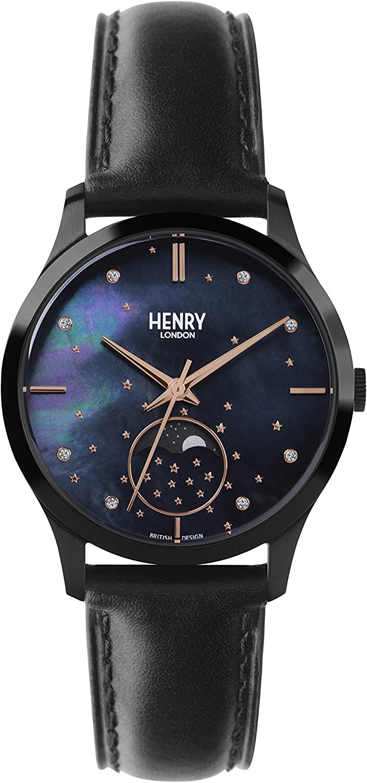 Henry London Reloj Fase Lunar para Unisex Adultos de Cuarzo con Correa en Cuero HL35-LS-0324