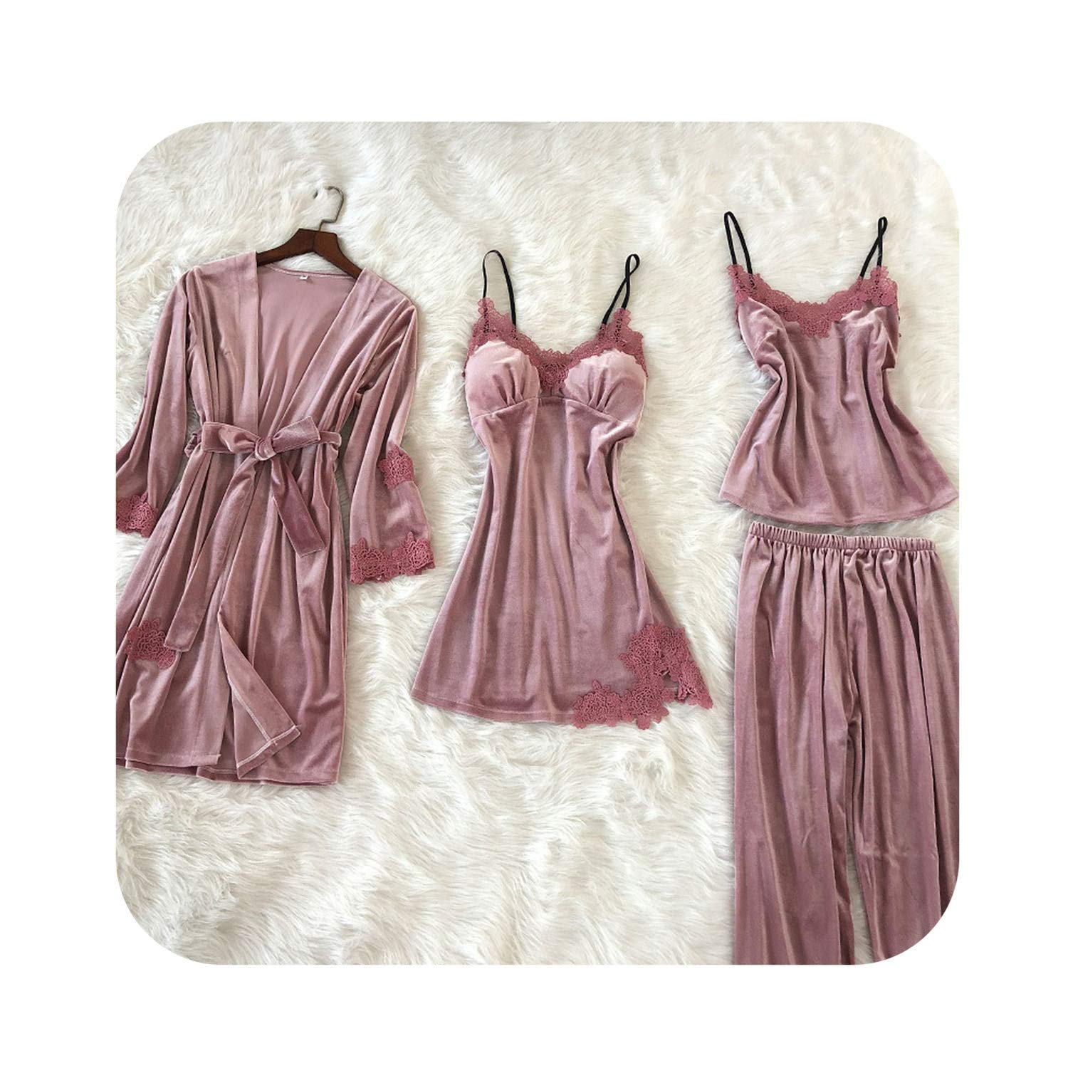 Pink Women Pajama 4 Pieces Sets Sexy Lace Pajamas for Women Winter Pijama Pink Sleepwear Female Soft