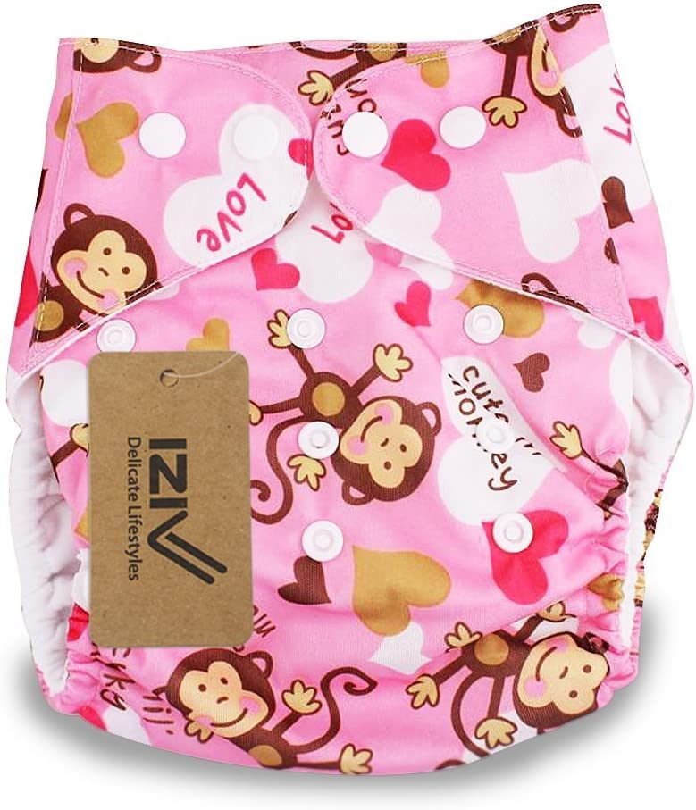 Color-2 iZiv TM Newborn Organic with 1 Thick Insert Infant Waterproof//Adjustable//Reusable//Washable Pocket Cloth Diaper Fit Babies 0-3 Years