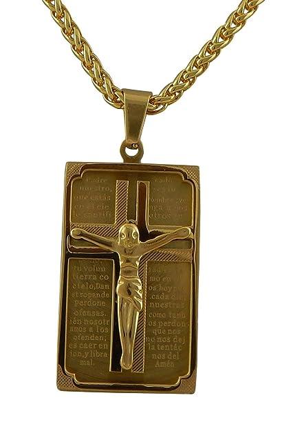 01b8b5bc6ad8 hanessa joyas collar de cadena con Jesús de colgante hombre de joyas en oro  chapado en