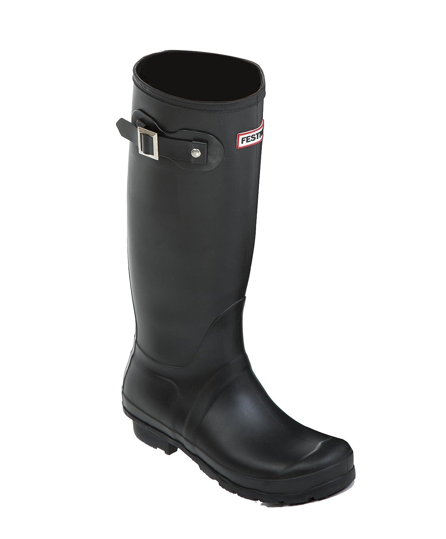 Ladies Tall Warm Wellies Black Wellington Boots Pink Socks Size 3 4 5 6 7 8