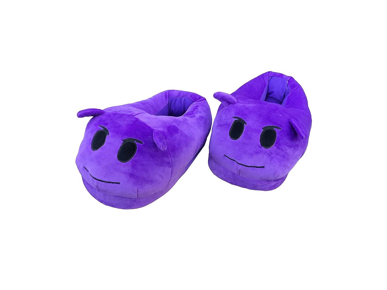 Diversión caliente, diseño de emoticono invierno Zapatillas Unisex adulto Zapatillas–Diablo sonriente, dormir cara de Diablo, Demonio, etc. (