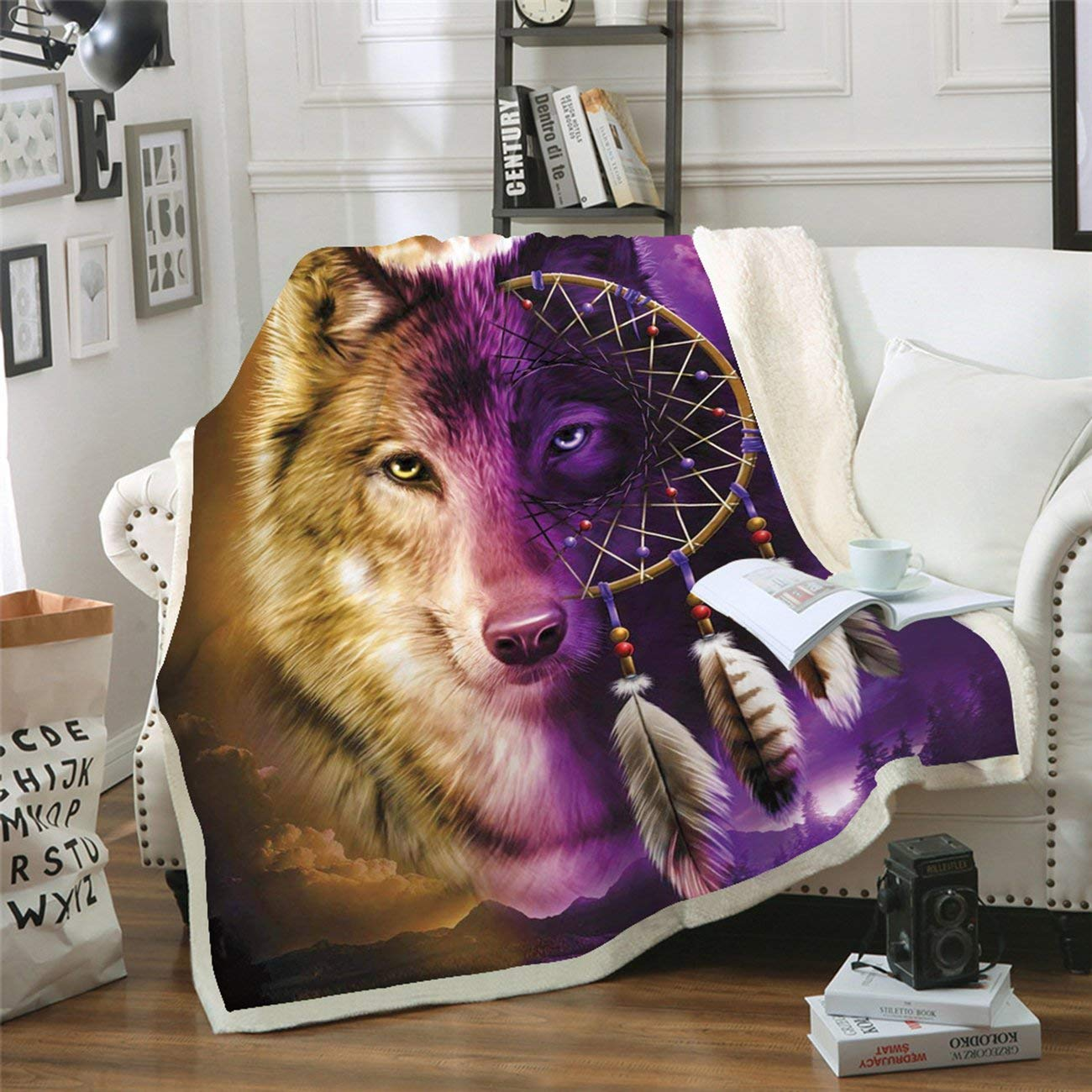 Square Carpet Wolf Series MT0019 Thickened Double-Layer Plush Blanket Home Sofa Bedding Office Car Blanket Home Textile