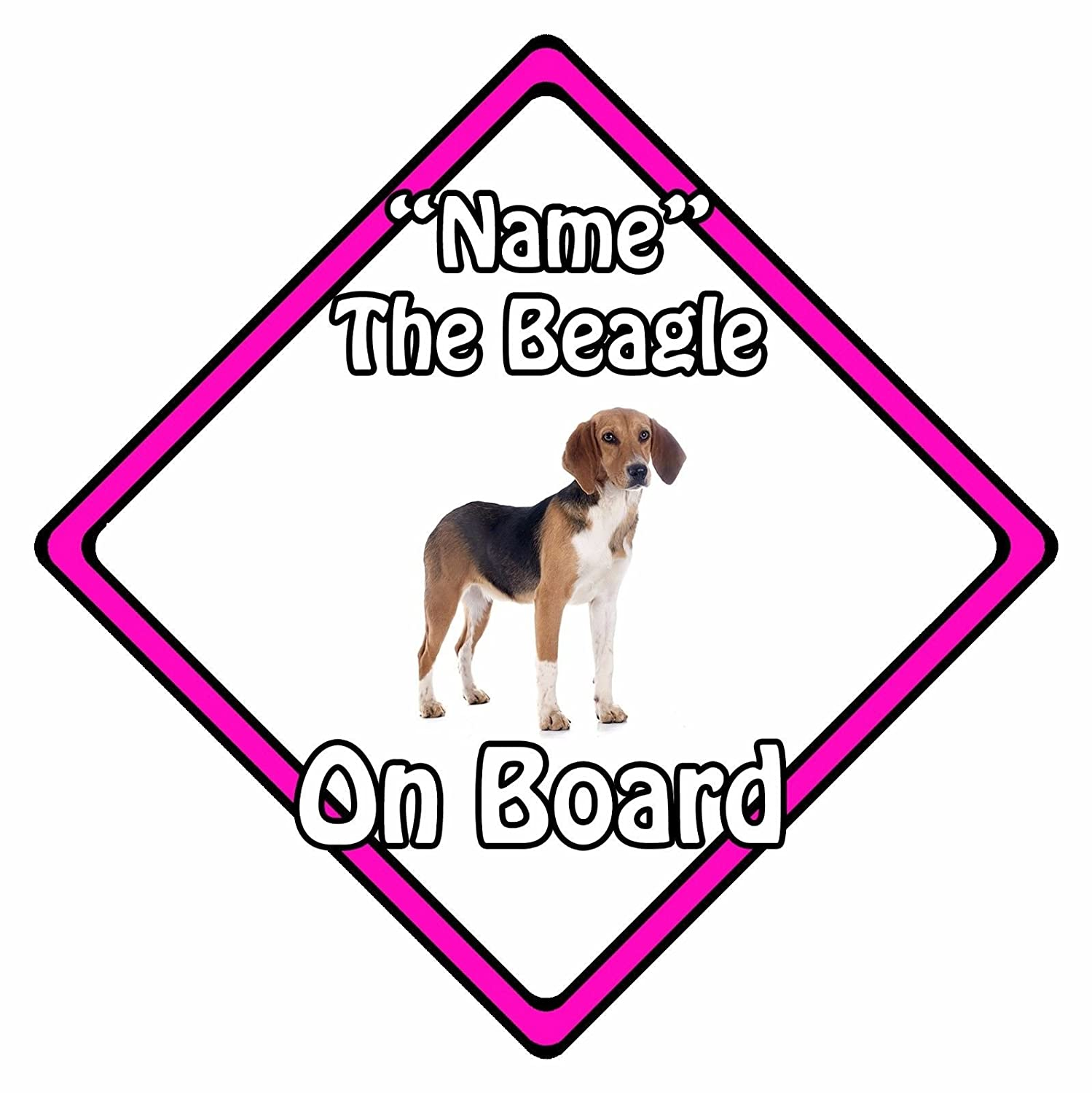 Personalised Dog On Board Car Safety Sign - Beagle On Board Pink