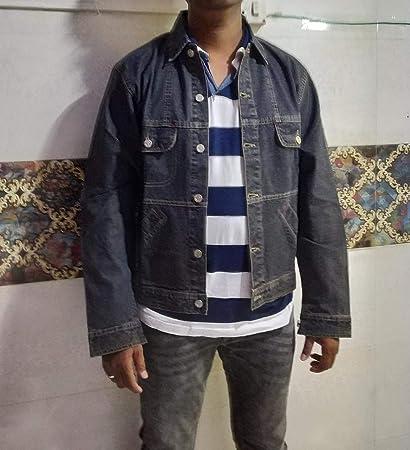 Amazon com: Men Shirts/Jackets Stylish Casual Blue Denim with Long