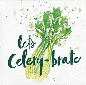 Elise PC332676 Garden Humour Paper Party Beverage Napkins Celery-brate (24 Pack, Multi Coloured)