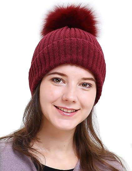 b24a27a3eb6 HH HOFNEN Womens Girls Knit Beanies Large Real Fox Fur Pom Pom Winter Hat  (Burgundy