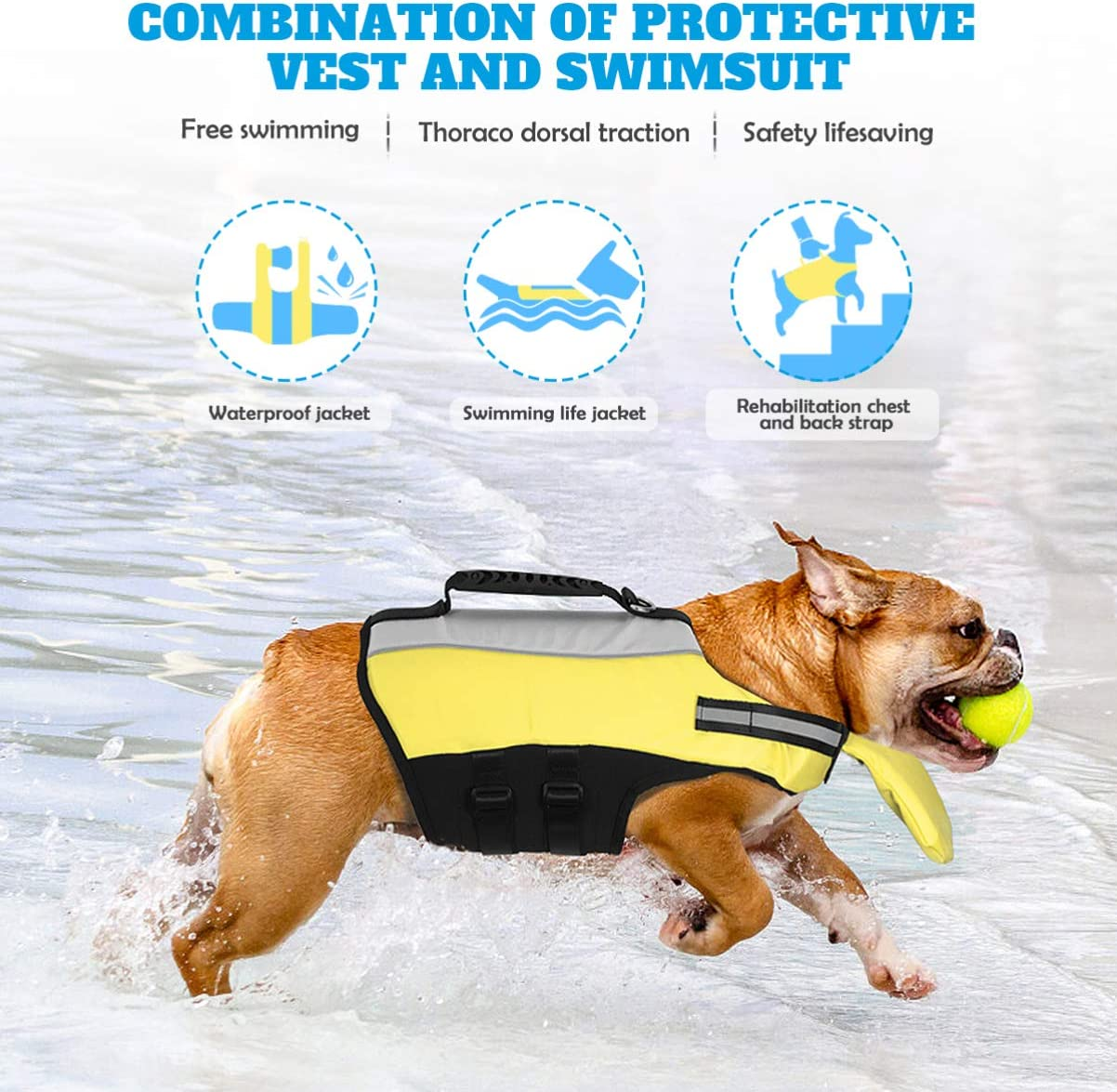Large Dogs Middle Pet Float Coat Reflective Dog Vest Saver Swimsuit Preserver Vest with Padding for Small POPETPOP Dog Life Jacket for Swimming