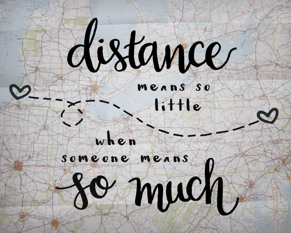 Amazon com 8x10 inch print distance means so little love quote print long distance relationship gifts map artwork handmade