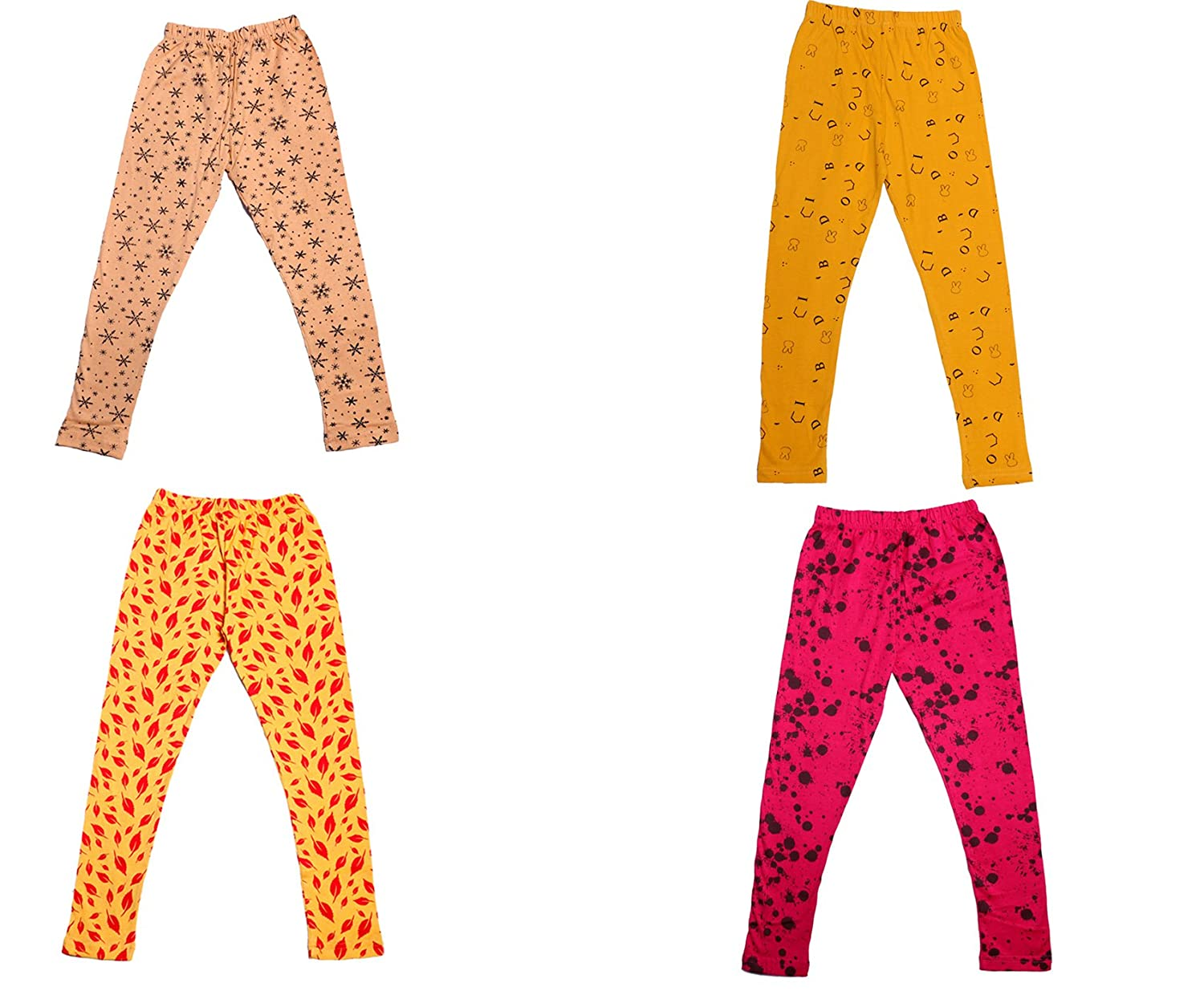 Indistar Girls Super Soft and Stylish Cotton Printed Legging Pants Pack of 4
