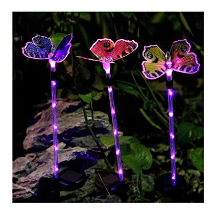 b9c7b968f367a Bornran 3 Pack Butterfly Garden Solar Lights Outdoor LED Garden Stake  Lights