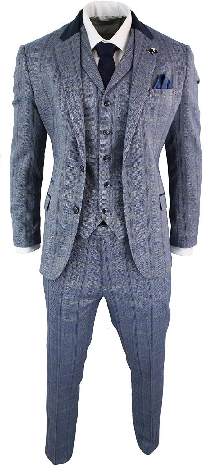 CAVANI Mens Check Tweed 3 Piece Blue Navy Suit Vintage Retro Tailored Fit Prince of Wales