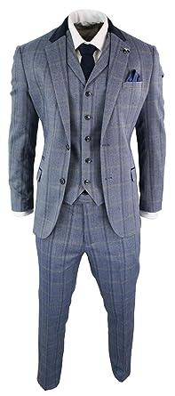 Costume Homme Tweed à Carreaux Prince de Galles 3 pièces Bleu Marine  Vintage rétro Coupe ajustée 466cf776862
