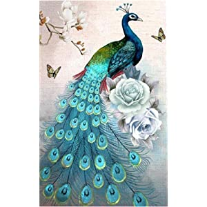 Opening Peacock Cross Stitch Craft Kit Wall Stickers for Living Room Decoration Mikilon 5D DIY Diamond Painting Special Shaped Diamond