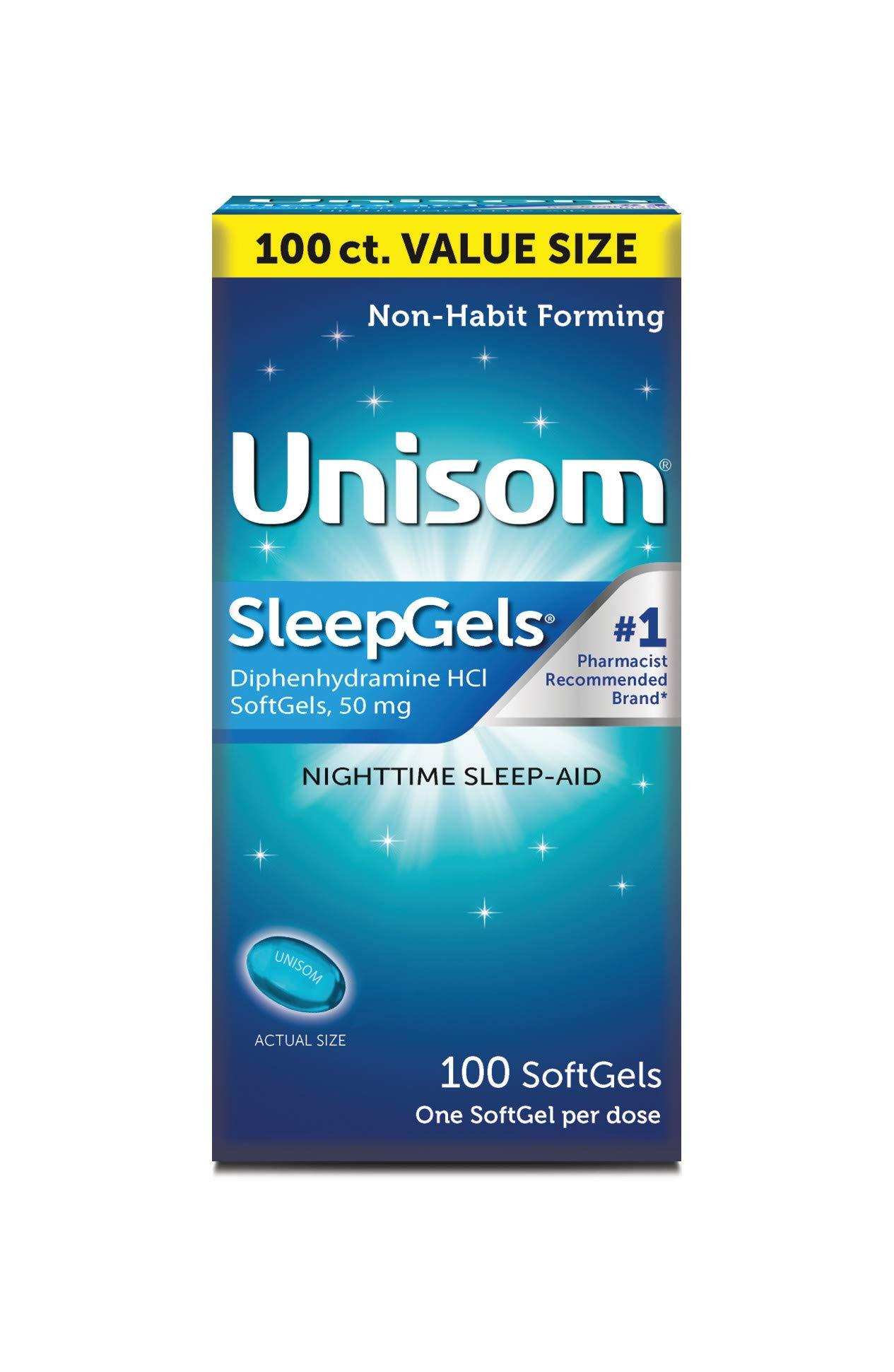 Unisom SleepGels, Nighttime Sleep-Aid, 50 mg Diphenhydramine HCl, 100 Soft Gel Capsules by Unisom