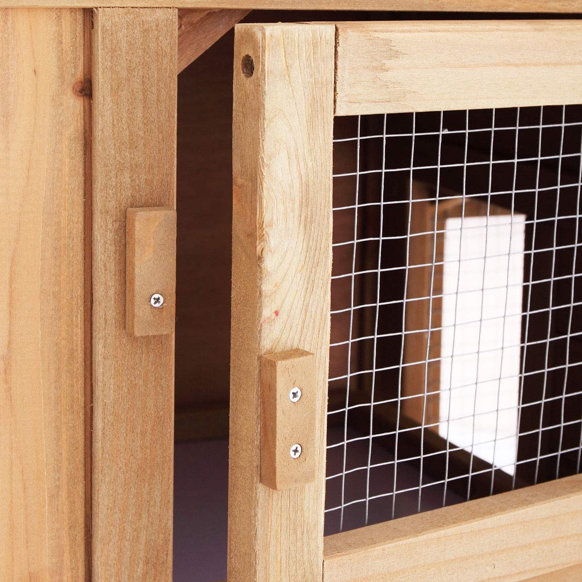 P PURLOVE Wood Bunny Hutch 54'' Large 2 Story Outdoor Bunny House with Removable Tray & Ramp, Backyard Garden Rabbit Cage/Guinea Pig House/Chicken Coop Nesting Box for Small Animals by P PURLOVE (Image #9)