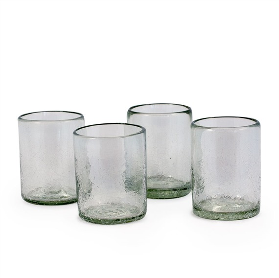 Maya Recycled Tumbler Glass - Clear - Set of 4 (491569168), Tumbler Glasses - Recycled Glass & Eco Friendly | Bambeco