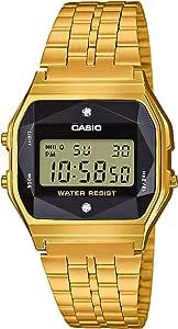 Casio A159wged-1ef) - Reloj multifunción con correa de acero dorado Casio Vintage