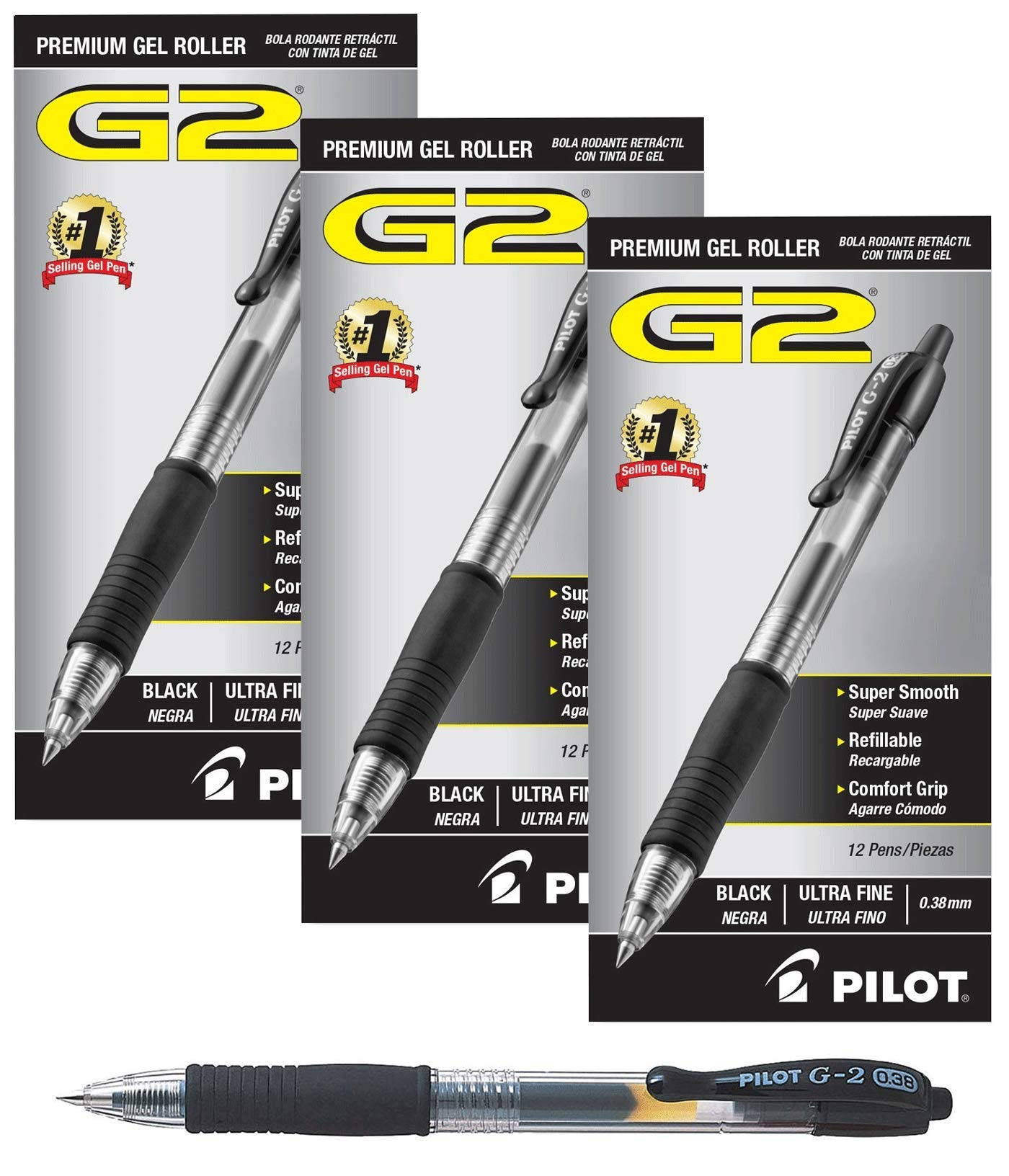 Pilot G2 Retractable Premium Gel Ink Roller Ball Pens Ultra Fine 3 Dozen Black ; Retractable, Refillable & Premium Comfort Grip; Smooth Lines to the End of the Page, America's #1 Selling Pen Brand