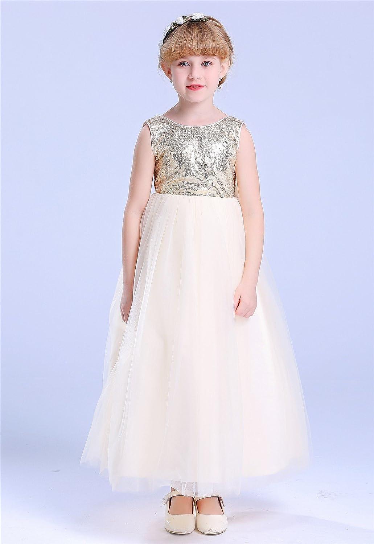 Amazon Bow Dream Lovely Sequins Flower Girls Dress Clothing