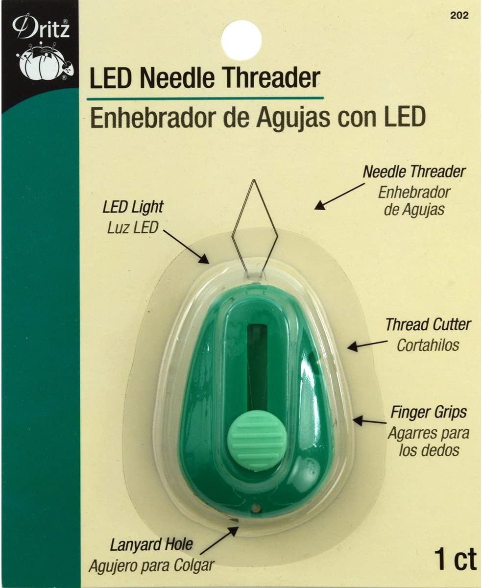 Hemline LED Lanyard Slot Needle Threader With Thread Cutter Hand Sewing Crafts