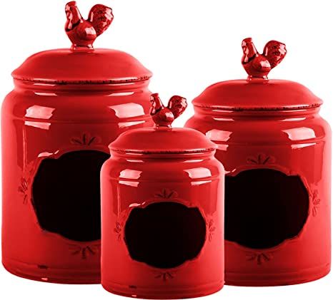 Beautiful Red Ceramic Canisters with Chalk Board ~ Kitchen Jar Set with Handles ~ Food Storage  sc 1 st  Amazon.com & Amazon.com: Beautiful Red Ceramic Canisters with Chalk Board ...