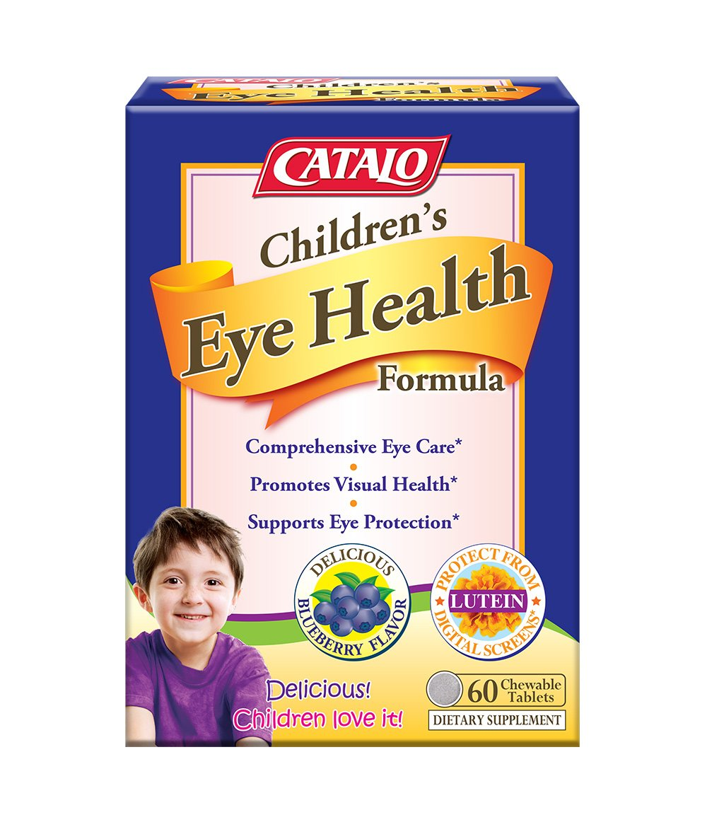 CATALO Children's Eye Health Formula - Vision Support with European Bilberry Extracts, Eyebright Extracts, Lycopene, Lutein & Zeaxanthin, Taurine, and Zinc, 60 Blueberry chewable Tablets
