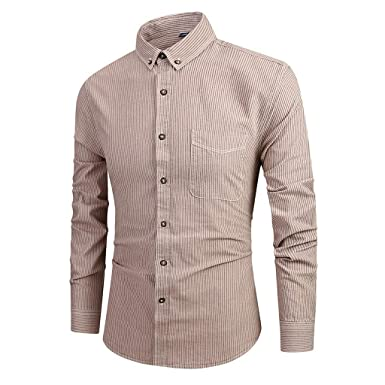 Mens Long Sleeve Lapel T Shirts Males Button Slim Fit Striped Pockets Casual Top Blouse Dress Shirt