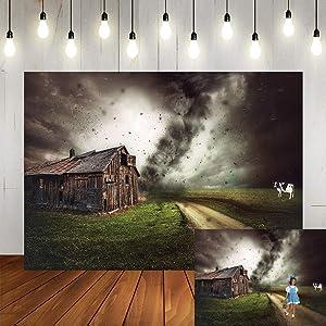 Art Studio 7x5ft Fairy Tale Tornado Halloween Party Photography Backdrop Farm Grassland Photo Background Chalet Girl Children Birthday Party Decor Newborn Video Shooting Studio Props