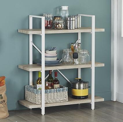 Homissue 3 Shelf Modern Industrial Bookshelf Light Oak Shelves White Metal Frame Open