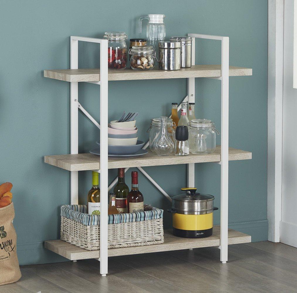 Homissue 3-Shelf Modern Industrial Bookshelf, Light Oak Shelves and White Metal Frame, Open Storage Display Bookcases Furniture, 39.9'' Height