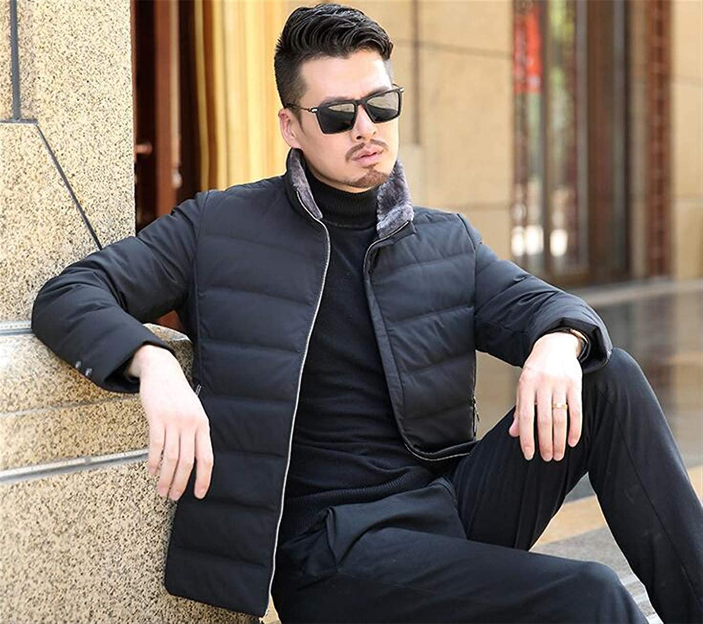 Cafuny Mens Warm Stand Collar Puffer Jacket Zipper Casual Down Coat Outwear