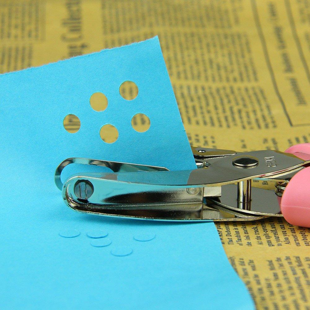 1 buco singolo a forma di cuore per biglietti di auguri Aibecy perforatore manuale in metallo per carta scrapbook strumento manuale con impugnatura rosa